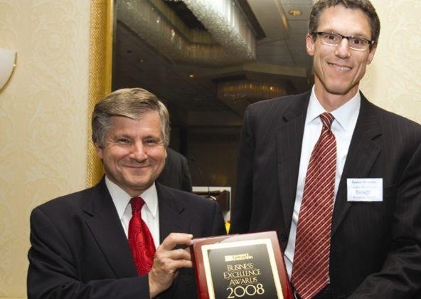 Master of Ceremonies, NBC10's Frank Coletta(l), and Jim DeRentis, Bank Rhode Island. / PBN Photo/Victoria Arocho