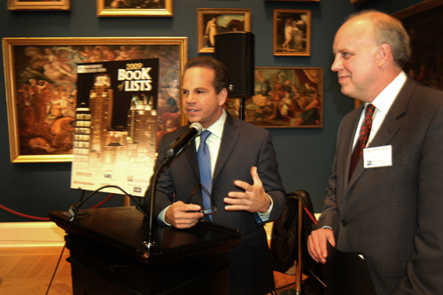 Mayor Cicilline presents a City of Providence Proclamation to PBN Publisher Roger Bergenheim. / PBN Photo/Frank Mullin