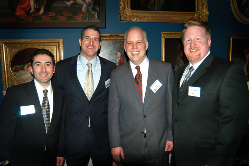 John Silva(l), Sovereign Bank, Glenn Chavious, USI of New England, PBN Publisher Roger Bergenheim, and Ross Nelson, Cox Business. / PBN Photo/Frank Mullin