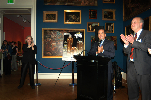 Providence Mayor David Cicilline greets the evening's guests, as Hope Alswang(l), Director of the RISD Museum of Art, and Roger Bergenheim(r), PBN Publisher, join the crowd in welcoming him. / PBN Photo/Frank Mullin