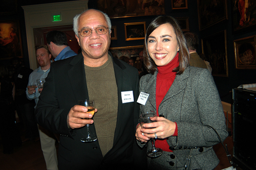 John Cruz(l), JC Electric Inc, and Joyce Fastino, The Personnel People. / PBN Photo/Frank Mullin