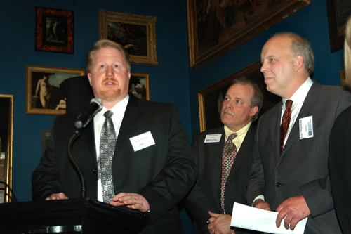 Ross Nelson(l), Cox Business, Mark Murphy, PBN Editor, and Roger Bergenheim, PBN Publisher. / PBN Photo/Frank Mullin