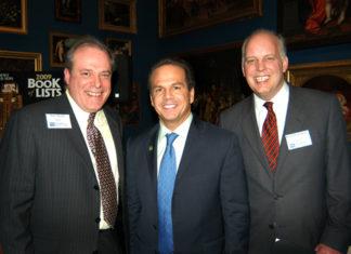 PBN Editor, Mark Murphy(l), Providence Mayor David Cicilline and PBN Publisher, Roger Bergenheim. / PBN Photo/Frank Mullin