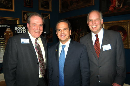 PBN Editor, Mark Murphy(l), Providence Mayor David Cicilline and PBN Publisher, Roger Bergenheim. / PBN Photo/Frank Mullin