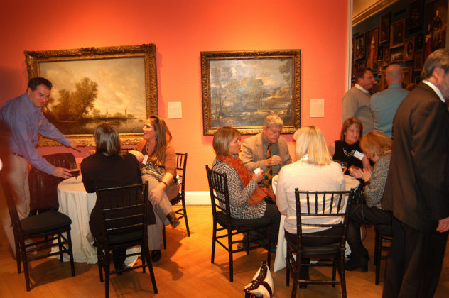 Taking the opportunity to relax a bit, these guests dine, network and absorb the cultural significance of the RISD Museum of Art. / PBN Photo/Frank Mullin