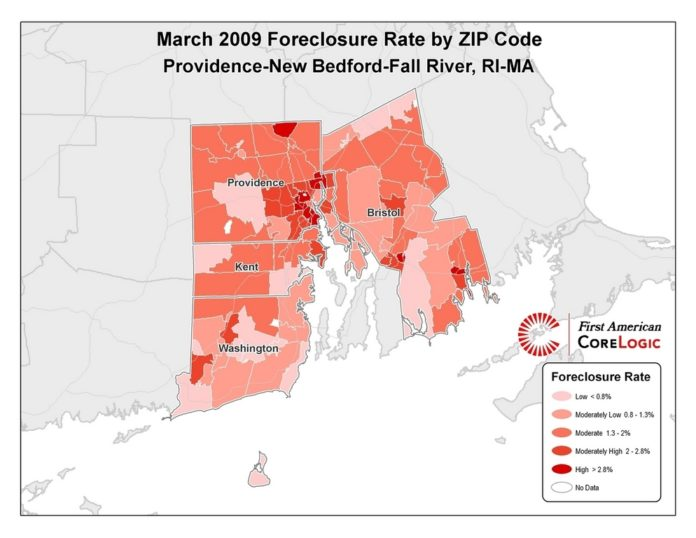FORECLOSURES IN THE Providence-New Bedford-Fall River region rose from 7,702 filings to 10,571, a 77.2 percent rise.  /