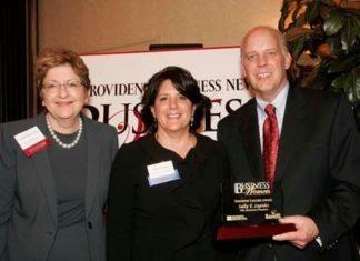 Merrill Sherman, Bank Rhode Island, honoree Donna DiOrio, Providence Marriott & PBN Publisher, Roger Bergenheim