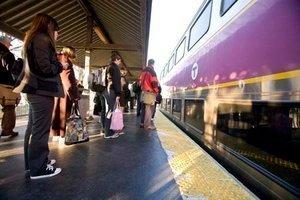AN MBTA TRAIN stops at the Attleboro station. /