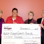 THE VERIZON FOUNDATION recently presented a check for $15,000 to Women & Infants Hospital for a wireless medication bar code system. Pictured from left to right are: Karen Davie, senior vice president for Philanthropy and Governance, Women & Infants; Michele Cinguegrano, regional director for External Affairs, Verizon Foundation; Janet Schipper, RN, MSN, vice president for Clinical Information and Improvement, Women & Infants; and Thomas King, site manager, Information Services, Women & Infants. /