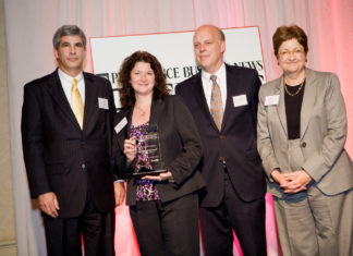 David Gilden, Partridge Snow & Hahn, Honoree Mary Beth Daigneault, St. Clare Home with PBN Publisher, Roger Bergenheim and Bank Rhode Island CEO, Merrill Sherman / Rupert Whiteley