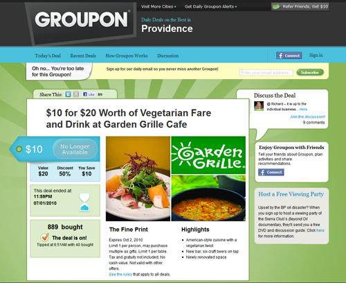 GROUP THOUGHT: The Garden Grille Groupon offer has generated word-of-mouth buzz for the vegetarian restaurant. /