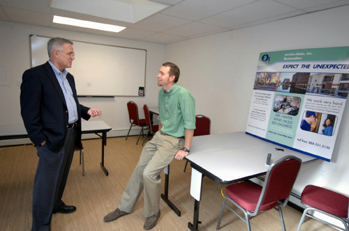 BEST PRACTICES: Enviro-Clean Marketing Manager George Salter, left, talks with CEO Eric Anderson in a space which the company uses for training sessions. /