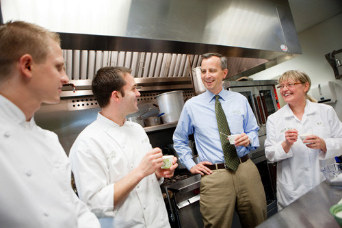 A FINE JOB: Blount Fine Foods employees, from left, Benjamin Murray, Corporate Executive Chef Jeff Wirtz, President Todd Blount and food technologist VJ Bonda in the company's food-testing room. /