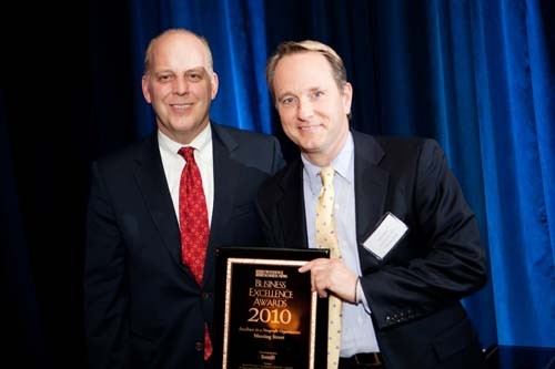 Meeting Street CEO John Kelly accepts the award for Excellence at a Nonprofit.