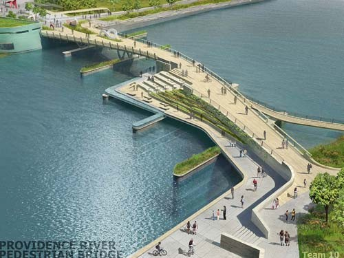 COURTESY INFORM STUDIO COST-CUTTING: Plans for the Providence River pedestrian bridge have been changed slightly to eliminate a water-level café.