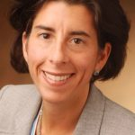GINA M. Raimondo was running a Rhode Island venture-capital firm in Providence when the mother of two read with alarm that a growing fiscal crisis might force cutbacks in library hours and bus service in 2009. / COURTESY TREASURY OFFICE