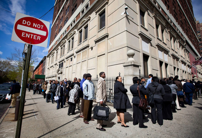 RHODE ISLAND's jobless rate continued to rise in March, increasing one-tenth of a percentage point over February, the R.I. Department of Labor and Training reported Friday. / BLOOMBERG FILE PHOTO/MICHAEL NAGLE
