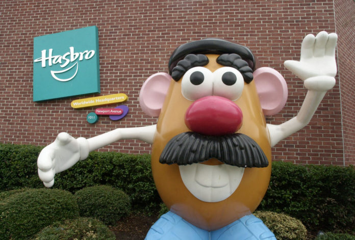 A STATUE OF Mr. Potato Head greets visitors to the corporate headquarters of toymaker Hasbro Inc. in Pawtucket. / BLOOMBERG FILE PHOTO/ MICHAEL SPRINGER