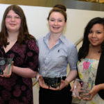 FROM LEFT: Marissa Martell (Chariho High School), Fiona Heaney (Rogers High School), Michelle Pajaro (Times2 Academy). / COURTESY NCWIT