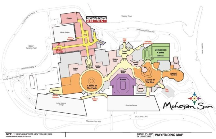 PLANNED FEATURES of the Downtown District, the 200,000-square-foot expansion of Mohegan Sun, are a 14-screen movie theater complex, high-end retail shops, a New England artisan food hall and a bowling/dining facility.  / COURTESY MOHEGAN SUN