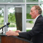 AT A PRESS CONFERENCE ON SUNDAY, Bryant University President Ronald K. Machtley urged Gov. Lincoln D. Chafee to issue a gubernatorial veto to the bill the General Assembly passed last week that altered Bryant's tax-exempt status. / COURTESY ROCKARHO MEDIA GROUP INC./VICTORIA AROCHO