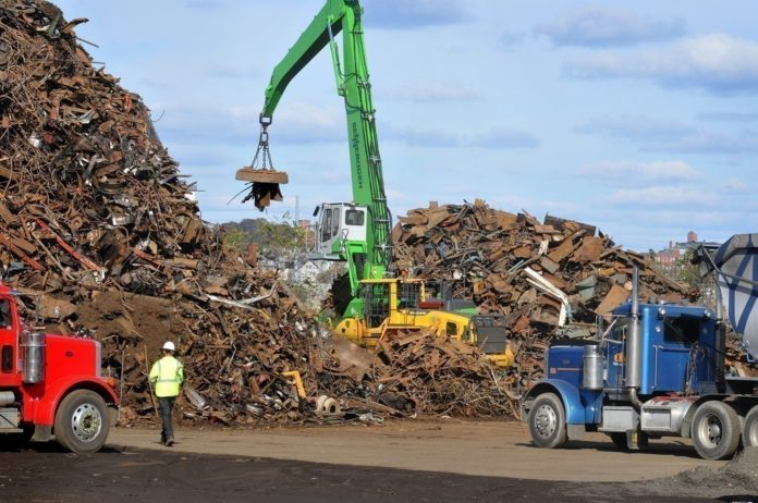 RHODE ISLAND ranks 10th in the nation for the value of its scrap and recycled materials exports, according to statistics released by the Business Roundtable Tuesday. Pictured is the Sims Metal Management operation at the former location of Promet Marine Services along the Providence's Allens Avenue waterfront. / PBN FILE PHOTO/FRANK MULLIN