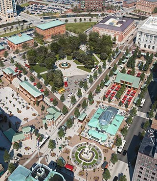 THE NEW KENNEDY PLAZA, as planned by the Downtown Providence Parks Conservancy, will be more pedestrian friendly and include hubs for activity like the Imagination Center, opened Thursday in Burnside Park. / COURTESY DOWNTOWN PROVIDENCE PARKS CONSERVANCY/TIMNELSON3D.COM