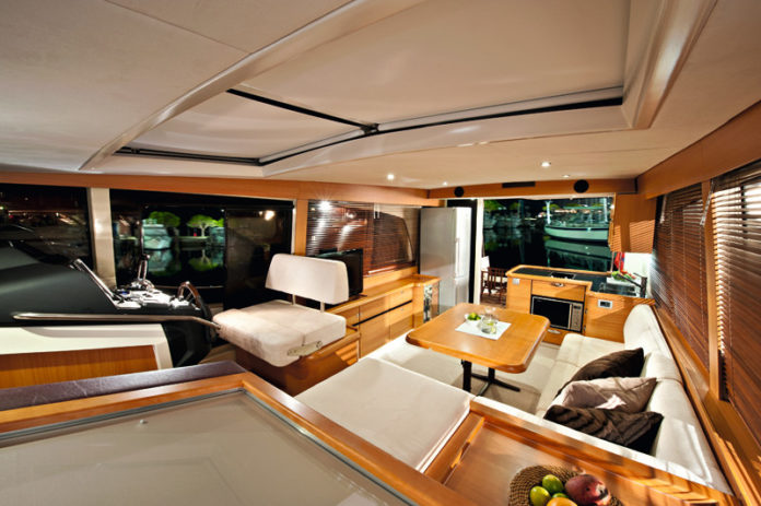 POSITIVE ENERGY: The cabin of the Greenline GL 40 hybrid boat, the world's only production-built diesel-, electric- and solar-powered boat, which will be at this year's Newport International Boat Show. / COURTESY NEWPORT INTERNATIONAL BOAT SHOW