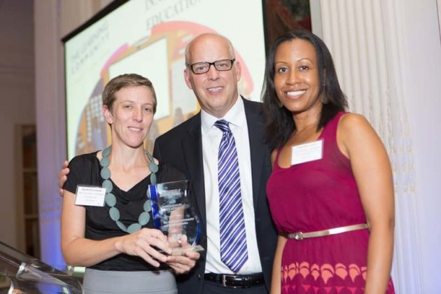 Sarah Friedman and Christine Alves, The Learning Community , accept their Innovation Award from PBN Publisher, Roger Bergenheim  / Rupert Whiteley