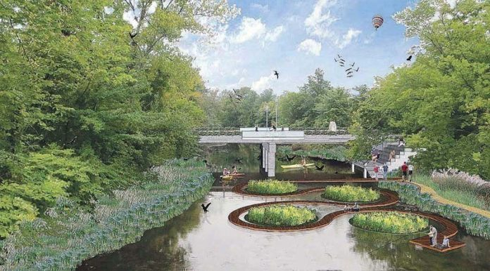 "A NEW PATH: A rendering of ideas to improve the lower Woonasquatucket River (near Bath Street), including restored native vegetation, bankside walkway, ""floating island"" of aquatic water-cleansing plants and serpentine dock. / COURTESY BIRCHWOOD DESIGN GROUP"
