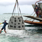 FIRST OF ITS KIND: A $750,000 project could bring artificial reef modules, similar to the one shown above, near Antigua, to Narragansett Bay as soon as next spring. / COURTESY REEF BALL FOUNDATION