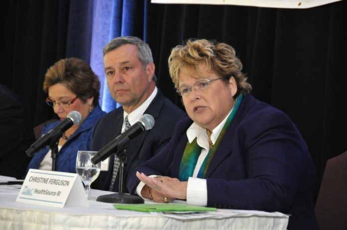 R.I. HEALTH INSURANCE Insurance Commissioner Dr. Kathleen Hittner (left), Blue Cross & Blue Shield of Rhode Island President and CEO Peter Andruszkiewicz (center) and HealthSource RI Executive Director Christine Ferguson -- pictured above answering questions during PBN's Summit on the Health Benefits Exchange last September -- will return to join the panel for PBN's next health exchange summit, to be held Feb. 27 at the Crowne Plaza Providence-Warwick. / PBN FILE PHOTO/MIKW SKORSKI