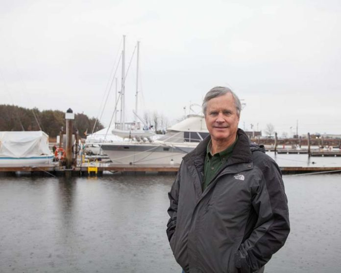 "STORM COMING? Jim Shriner, Mill Creek Marine owner, said climate change warnings are causing small-business owners to incur ""exorbitant costs"" for insurance. / PBN PHOTO/TRACY JENKINS"
