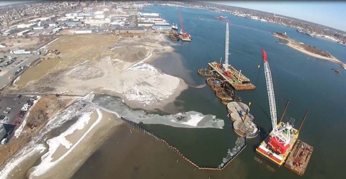 TURBINE HUB: Construction of the New Bedford Marine Commerce Terminal, intended as a hub for assembly and deployment of turbines for offshore wind farms, is due to be completed by the end of the year. / COURTESY APEX COMPANIES