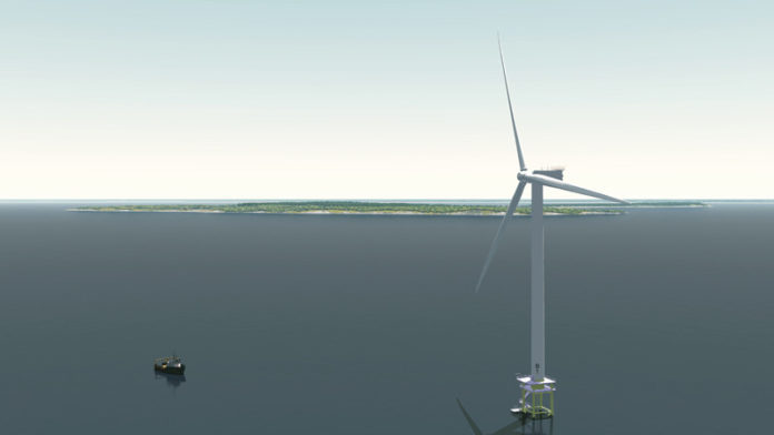 A SUBCOMMITTEE of the Coastal Resources Management Council on Thursday unanimously voted to recommend Deepwater Wind's Block Island Wind Farm project for approval. Above, a rendering of one of the proposed wind turbines. / COURTESY DEEPWATER WIND