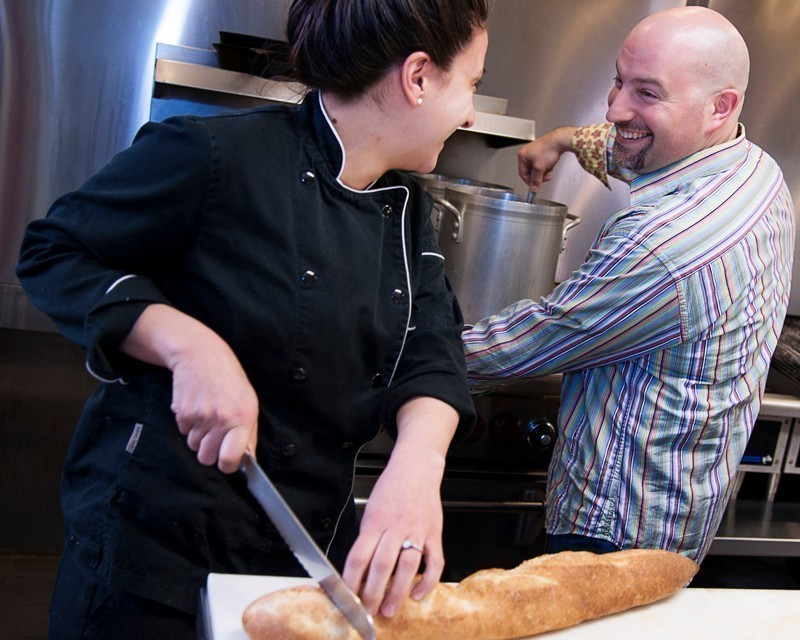 WHETTING APPETITES: David Dadekian, right, owner of Eat Drink RI LLC, with sous chef Ashley Vanasse. / PBN PHOTO/MICHAEL SALERNO