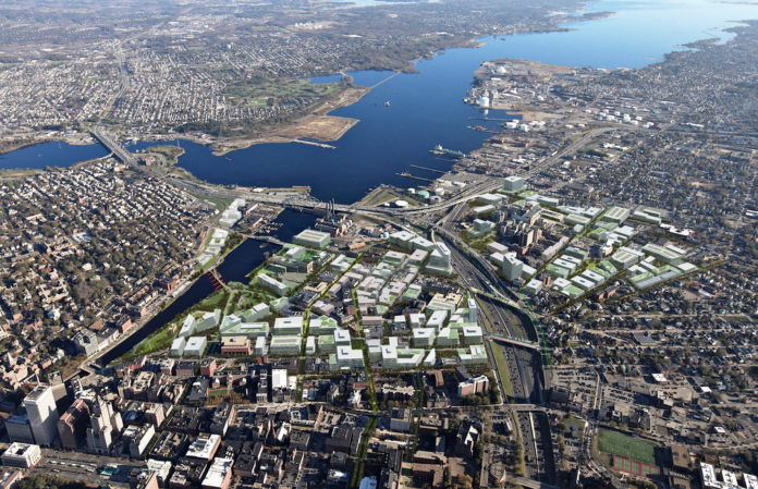 THE COMMISSION OVERSEEING the redevelopment of the former Interstate 195 land in Providence (shown is a conceptual rendering of what the land might look like after being fully built-out) has decided to make public those development proposals that are not chosen by the commission for implementation, a reversal of an earlier decision that had received a negative reception in some quarters. / COURTESY CITY OF PROVIDENCE
