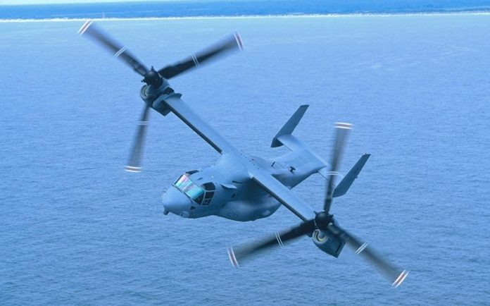TEXTRON'S BELL HELICOPTER announced Monday that it will lay off 325 employees mainly at its headquarters in Fort Worth, Texas, as a result of declining defense contracts. Above, the V-22 aircraft that Boeing and Bell Helicopter supply for the U.S. Navy. / COURTESY TEXTRON INC.