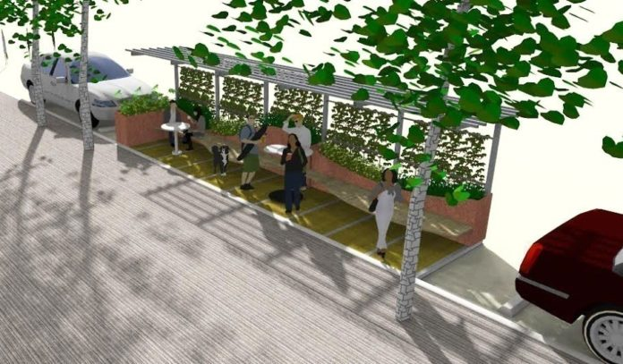 PROVIDENCE MAYOR ANGEL TAVERAS and Brown University President Christina H. Paxson announced plans Tuesday to revitalize the Thayer Street district with a miniature park, wider sidewalks and landscaping. Above, a rendering of what the proposed 'parklet' could look like. / COURTESY CITY OF PROVIDENCE
