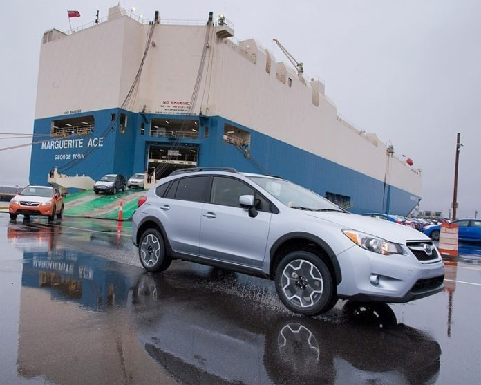 BY LAND, VIA SEA: In the nearly 30 years since North Atlantic Distribution Inc. began operating in North Kingstown, its annual car shipments have grown from 35,000 to an expected 250,000. Above, Subaru XV Crosstreks arrive at the Port of Davisville. / PBN PHOTO/MICHAEL SALERNO