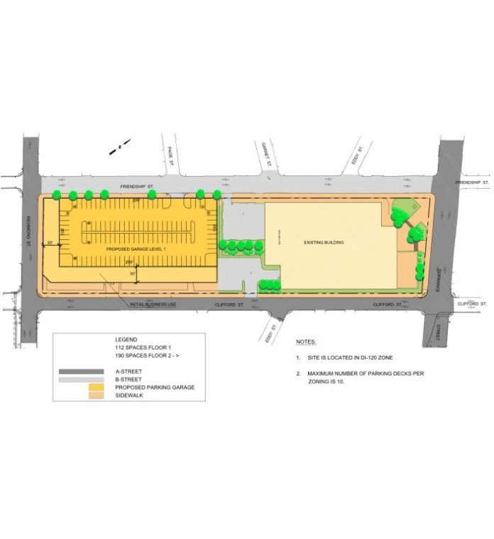 THE REDEVELOPMENT OF the Garrahy Judicial Complex parking lot into a 1,250-space parking garage cannot go forward until any three developable plots on the former Interstate-195 land known as The Link sell. Above, a layout of the proposed garage drafted by Fuss & O'neill. / COURTESY FUSS & O'NEILL