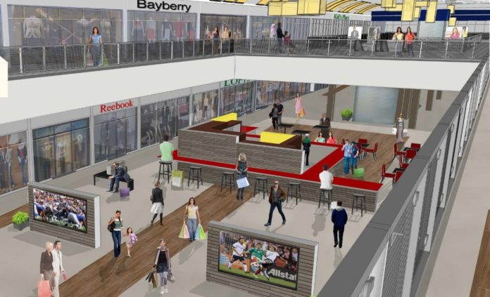 A CONCEPTUAL RENDERING shows what the Rhode Island Mall in Warwick might look like after it has been converted into a factory outlet center. Property owners Winstanley Enterprises LLC and Surrey Equities LLC plan to open Outlets at Rhode Island Mall in the fall of next year. / COURTESY WINSTANLEY ENTERPRISES LLC AND SURREY EQUITIES LLC
