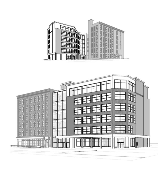 A DRAWING SUBMITTED with Hecht Development LLC's parking lot proposal for Parcel 30 of The Link land shows what an expansion of the 95 Chestnut building could look like if it were redeveloped as an office building with ground-level retail. The I-195 Redevelopment District Commission rejected the Hecht proposal along with two others. / COURTESY HECHT DEVELOPMENT LLC