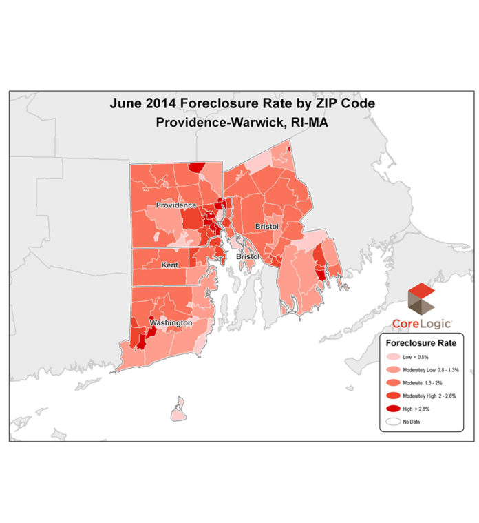 THE FORECLOSURE RATE in the Providence-Warwick metro area came in at 1.78 percent in May, dropping from the 2.35 percent rate reported in June 2013. / COURTESY CORELOGIC
