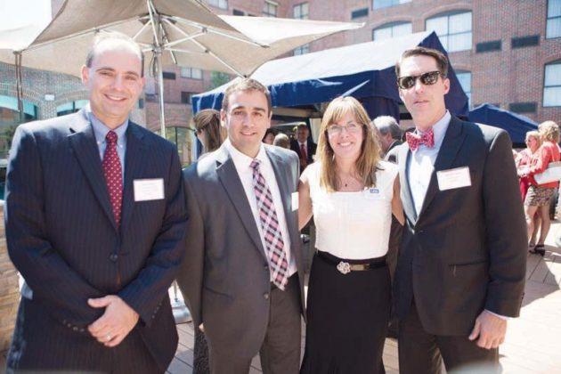(l-r) Scott Boyd, Amica, Jeff Lemos, Navigant Credit Union, with Kim Hadsell and David Glade of USI Insurance  / Rupert Whiteley