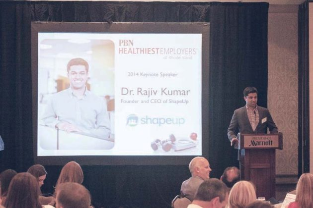 Luncheon Speaker, Dr. Rajiv Kumar, CEO of ShapeUp addresses the audience of 285 / Rupert Whiteley