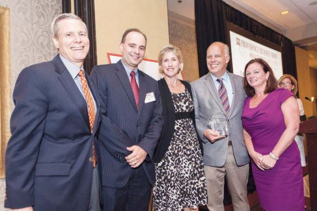 Robert DiMuccio, Scott Boyd, Jill Andy, and Jean Tapley join Roger Bergenheim to accept Amica 's 1st place award among large employers