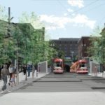STREETCARS EMERGE from the East Side bus tunnel at the intersection of Fones Alley and Thayer Street on College Hill in this conception of what the potential streetcar project would mean in Providence. / COURTESY KLOPPER MARTIN DESIGN GROUP AND PROVIDENCE PLANNING DEPARTMENT