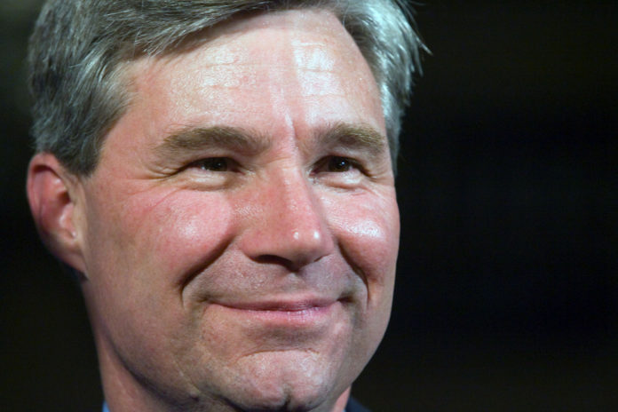 SEN. SHELDON WHITEHOUSE joined R.I. District Court Chief Judge Jeanne E. LaFazia to announce a $754,000 federal grant for veterans programs on Monday.  / BLOOMBERG FILE PHOTO/VICTORIA AROCHO
