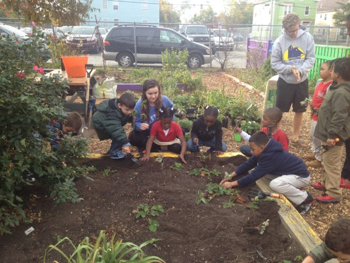 BROWN UNIVERSITY undergraduate Mara Quinn, center, works with teachers and students in an outdoor garden at Fortes Elementary School in Providence. / COURTESY BROWN UNIVERSITY